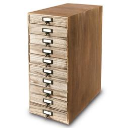 10 Drawers Wood Storage Cabinet with Metal Label Holders