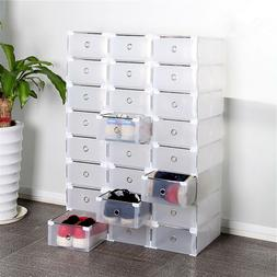 10 Pack Plastic Stackable Shoe Storage Organizer Clear Drawe