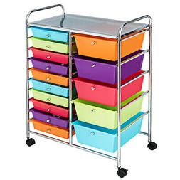 15 Drawer Rolling Storage Cart Home Rolling Carts Opaque Mul