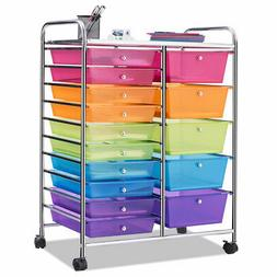 15 Drawer Rolling Storage Cart Tools Scrapbook Paper Office