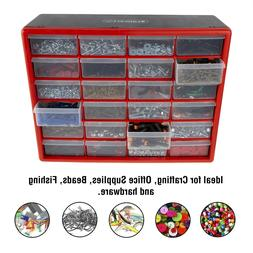 24 Drawers Storage Box Tools Crafts Beads Table Top Wall Mou