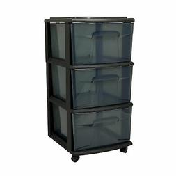 """Homz 25"""" Tall Solid Plastic 3 Drawer Wheeled Home Storage Or"""