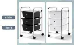 3 Drawers Rolling Storage Cart Plastic Trolley on Wheels Off