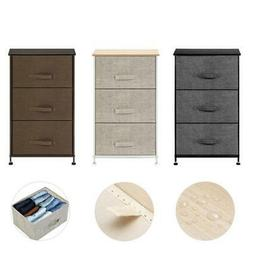 """29"""" 4 Fabric Drawers Bedroom Bedside Nightstand Table Wooden"""