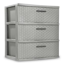 3 Tier Weave Wide Cart Home Storage Organizer Opaque Drawers