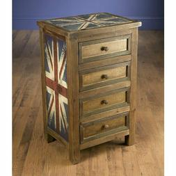 4 Drawer Accent Chest Cabinet US Antique Rustic Cupboard Sto