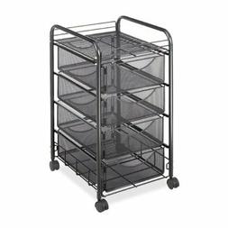 Safco Products 5214BL Onyx Mesh File Cart with 4 Storage Dra