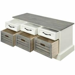 Bowery Hill 6 Drawer Storage Bench in White and Gray