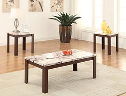 ACME Furniture 82132 3 Piece Carly Coffee/End Table Set, Fau