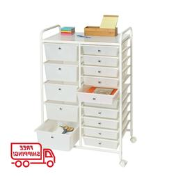 ORGANIZING STORAGE CART Arts and Crafts 15 Drawer Rolling Se