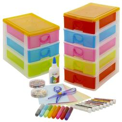 Arts & Crafts Tower Case With Accesories Set Toy Drawers Uni