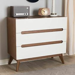 Baxton Studio Calypso 3 Drawer Chest in White and Walnut