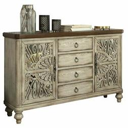 Bowery Hill Console Table with 2 Doors and 4 Drawers in Anti