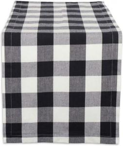 "DII Cotton Buffalo Check Table Runner for 14x72"" Runner, Bla"