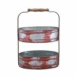 Benjara Country Style Two Tiered Galvanized Iron Tray, Red,