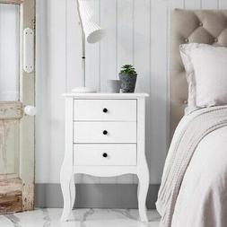 End Side Tables Nightstand with 3 Storage Drawers Living Roo