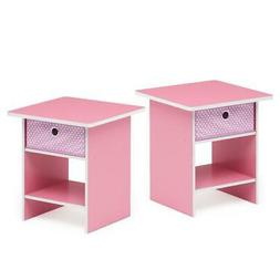 Furinno End Table/ Night Stand Storage Shelf with Bin Drawer