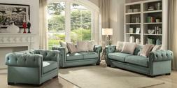 Acme Furniture Eulalie Teal Sofa and Loveseat
