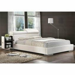 faux leather queen storage bed in white