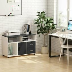 File Cabinet with Drawers and Wheels Open Storage Shelves fo