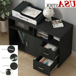Home Office 2 Drawers Filing File Cabinet Bedroom Wood Stora
