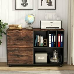 Home Office Mobile Lateral File Cabinet with 2 Drawers and O