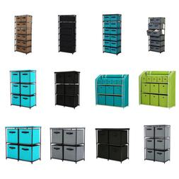 Home Storage Shelf Organizer with Easy Pull Fabric Drawers a