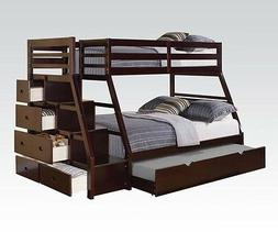 Acme Jason Espresso Bunk Bed w/Storage Drawers Twin Top/ Ful