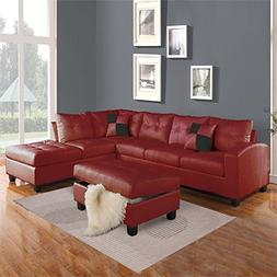 ACME Furniture Kiva 51185 Sectional Sofa with 2 Pillows, Red