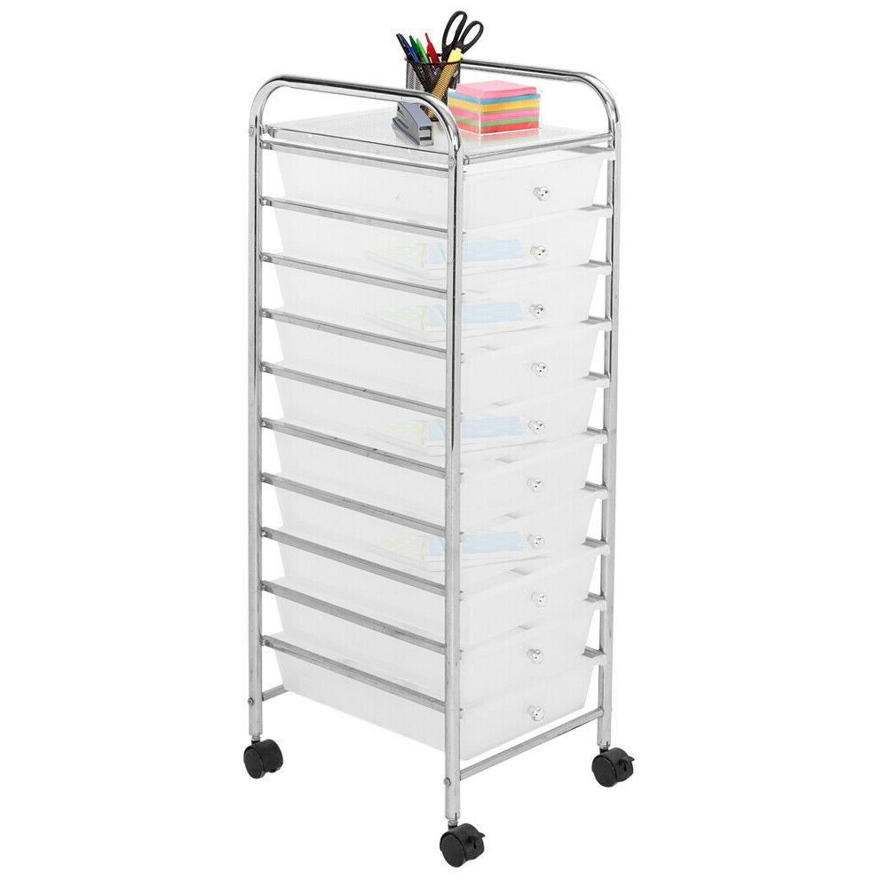 10-Drawer Organizer Utility Cart Home Office