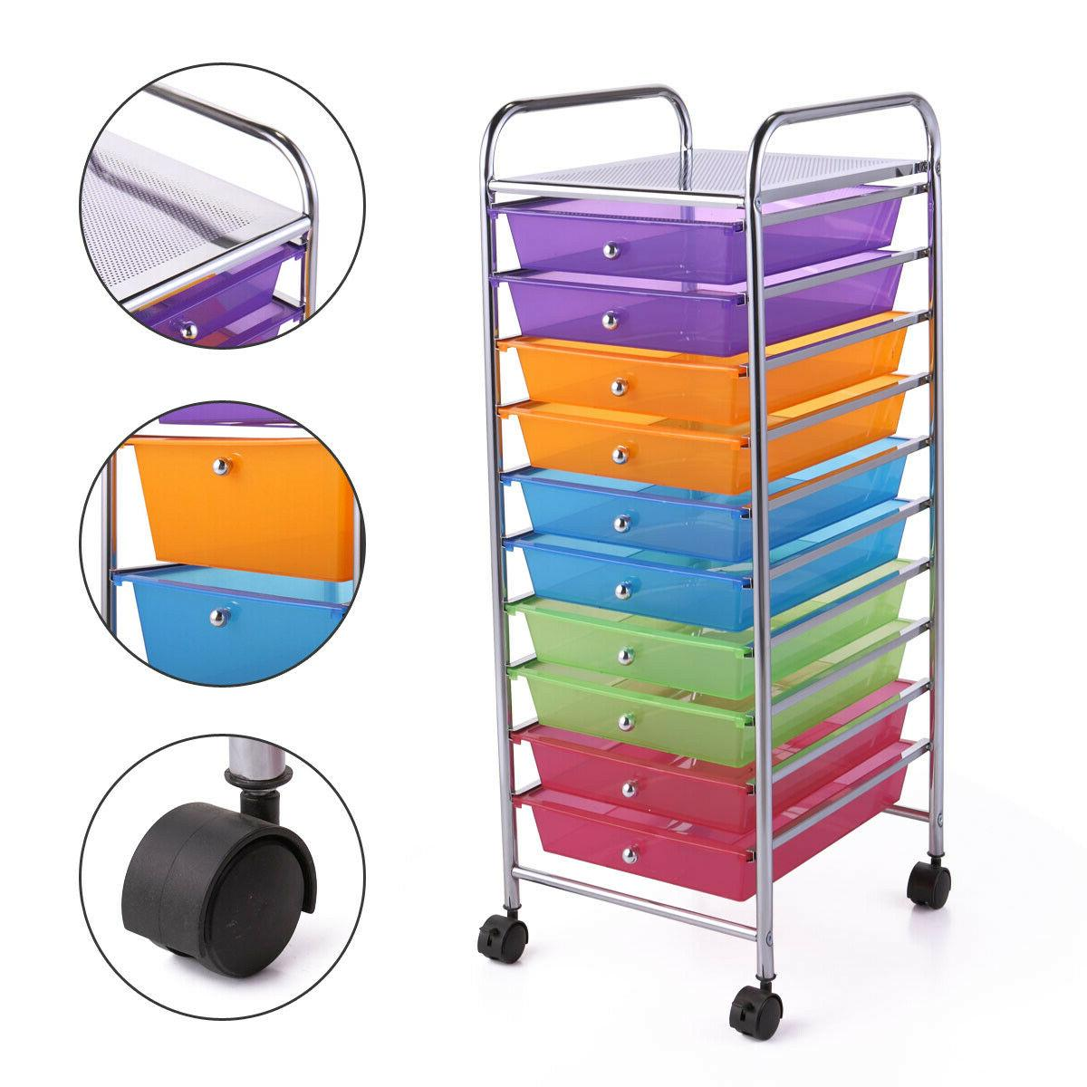 10 Drawer Rolling Cart Paper School