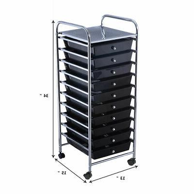 10 Drawer Rolling Cart Office School Organizer Black