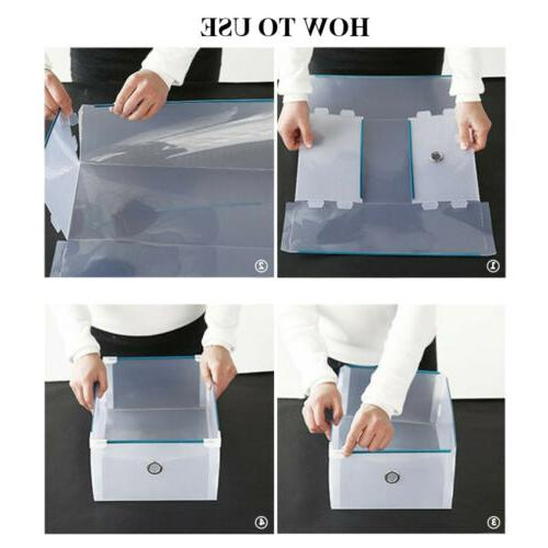 10 Pack Plastic Stackable Shoe Organizer Clear Drawer Box Frame