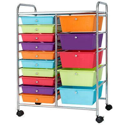 15 Drawer Rolling Storage Cart Storage Rolling Carts Opaque