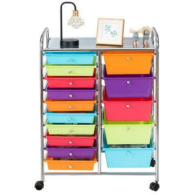 Utility 15 Drawer Storage Rolling Carts Opaque Multicolor Dr