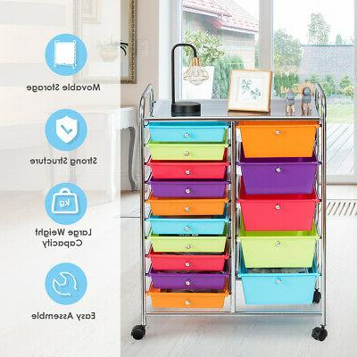 15 Drawer Rolling Storage Rolling Home Multicolor