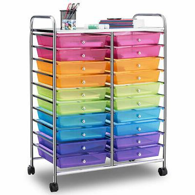 20 drawers rolling cart storage multi color