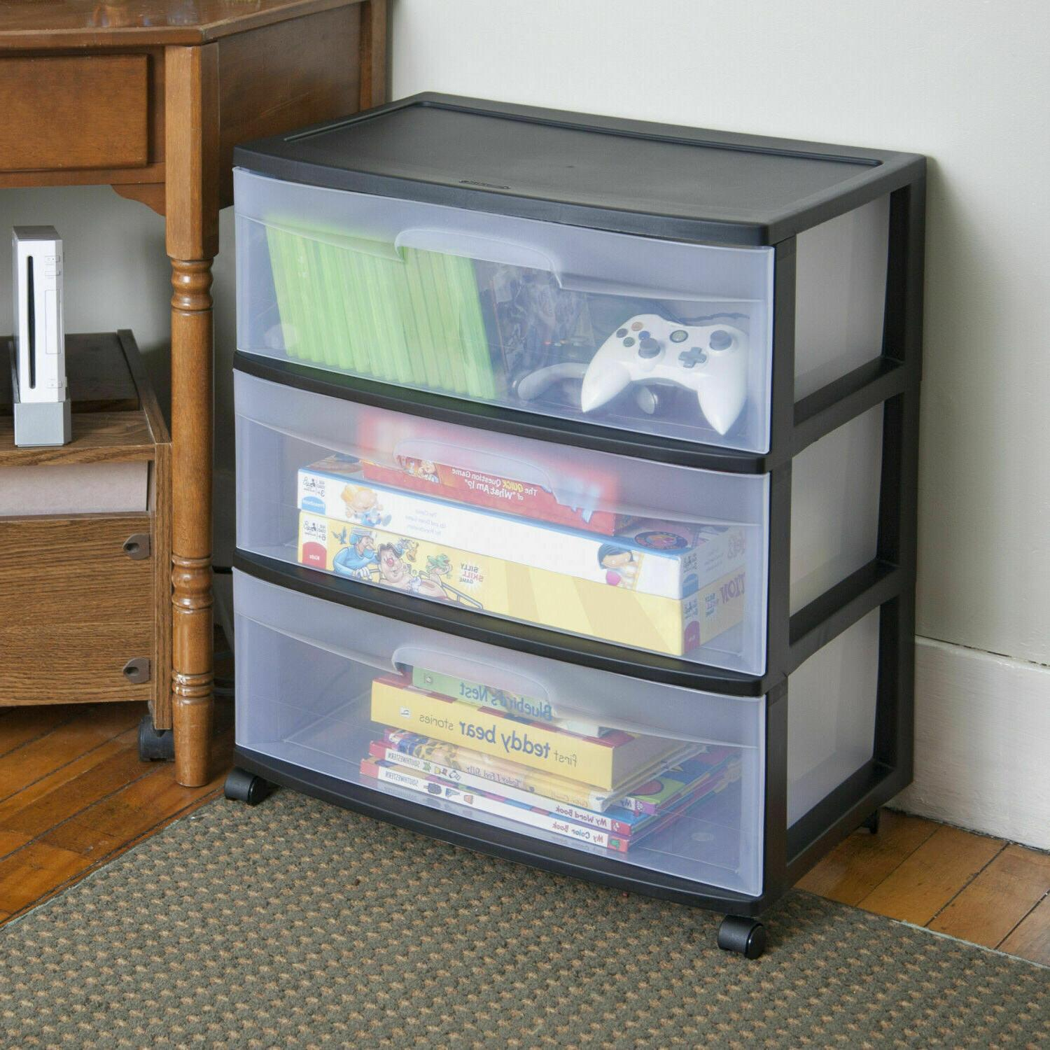 3 Drawer Wide Cart Room Cabinet Clear Black