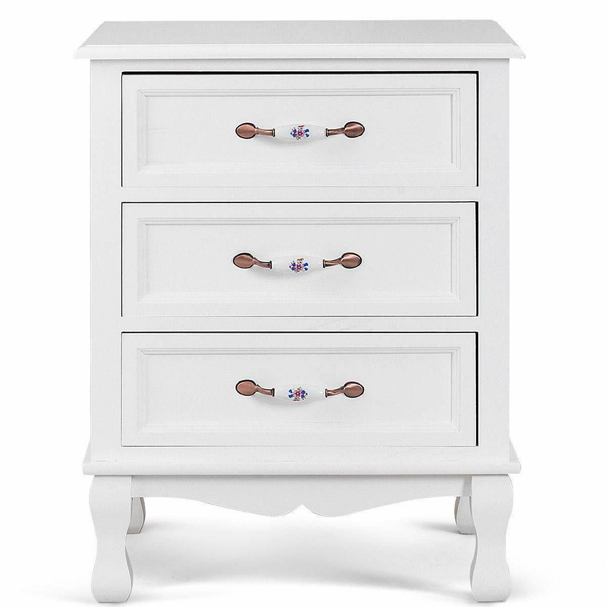 Giantex 3 Drawers Wood Nightstand End Table Storage Cabinet