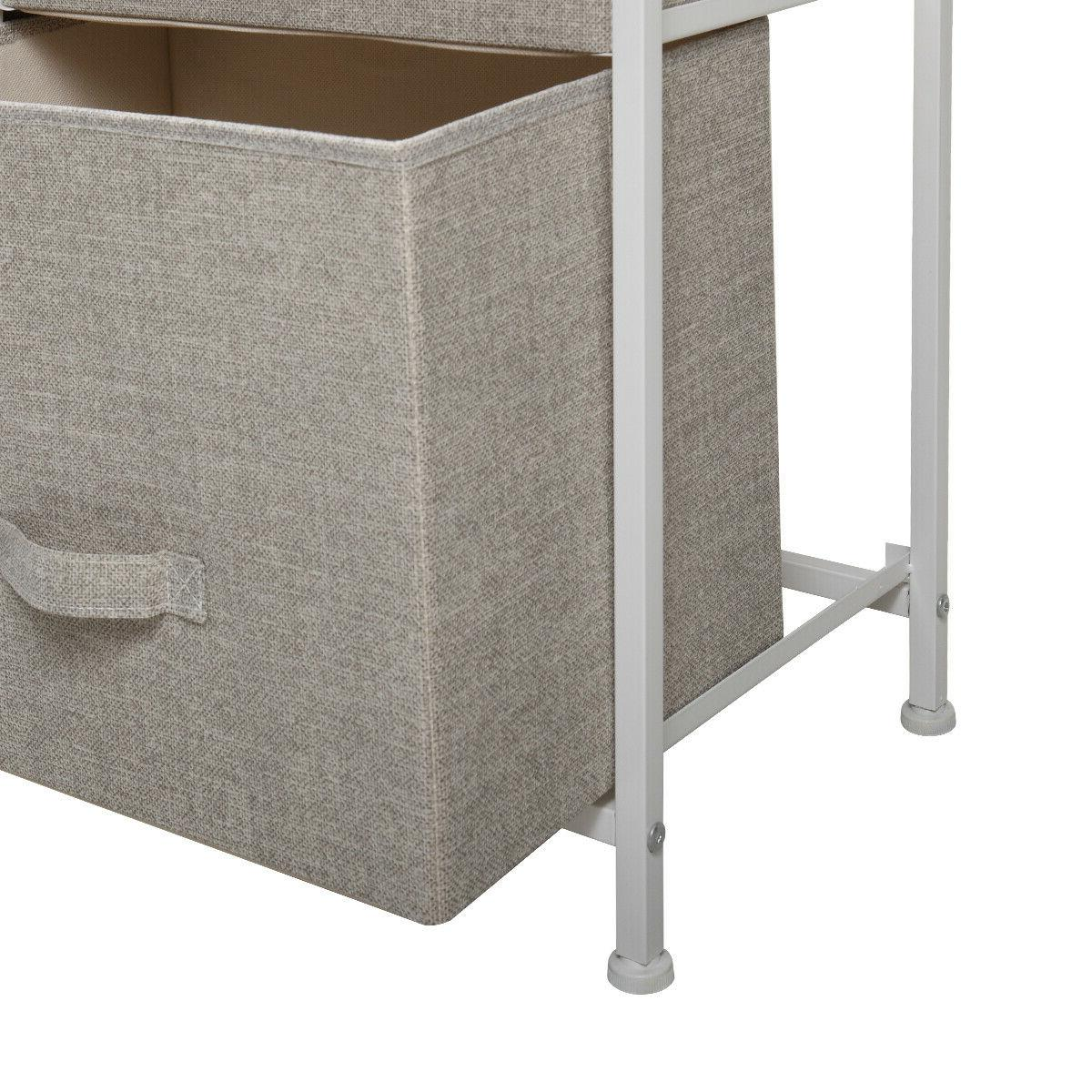 3-Tier Drawers Storage Cabinet Tower Fabric Bedroom