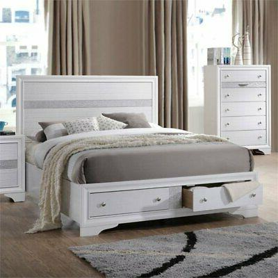 ACME Naima Bed with Storage in White