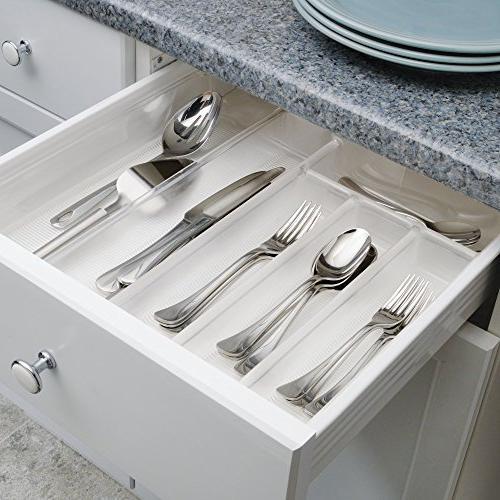 mDesign Expandable Kitchen Cabinet Drawer Storage Organizer Cooking BPA - Clear