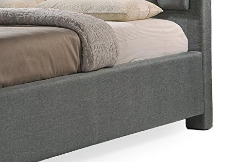 Baxton Studio Button-Tufted Bed King, Grey
