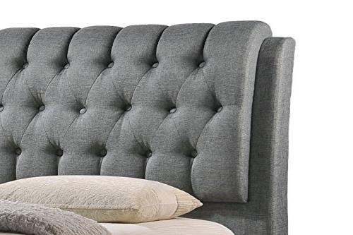 Baxton Button-Tufted Fabric Upholstered Bed with 2 Drawers, King, Grey