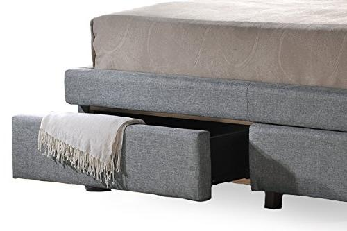 Baxton Studio Contemporary Button-Tufted Storage Bed King,