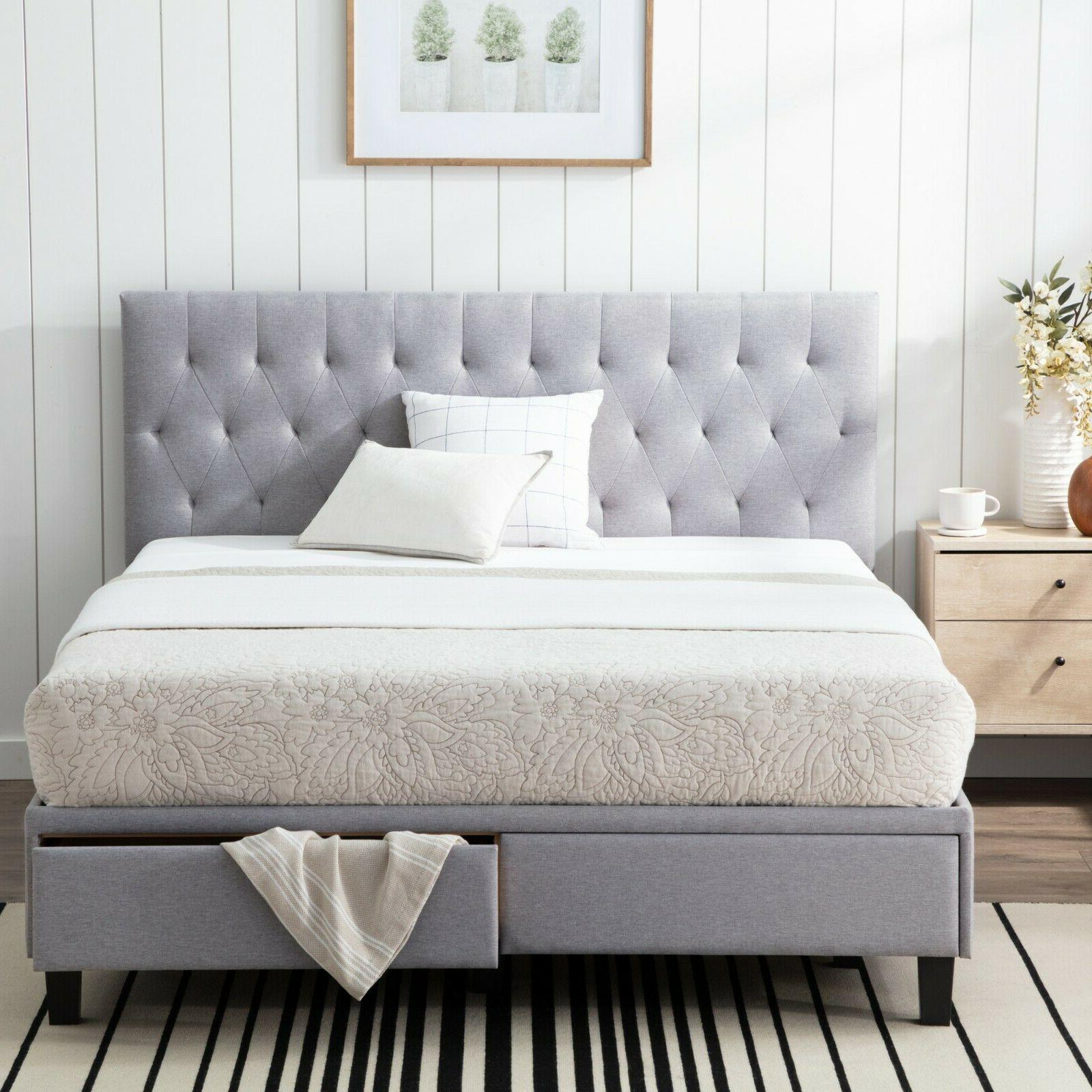 anna upholstered storage bed with two drawers