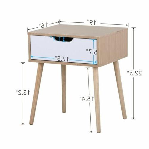 Topeakmart Nightstand End Side Table with Drawers
