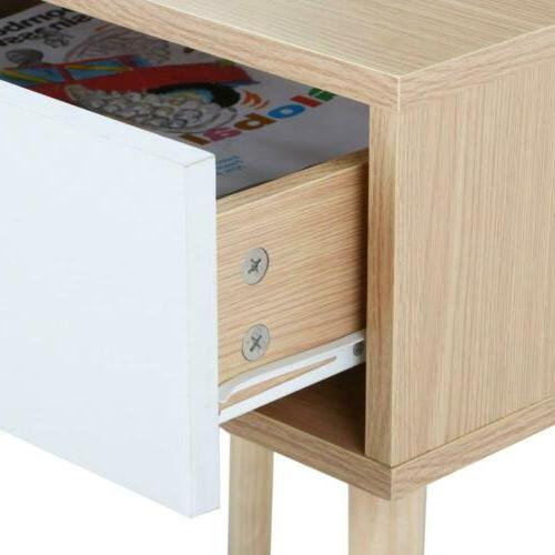 Topeakmart Nightstand Side Table with