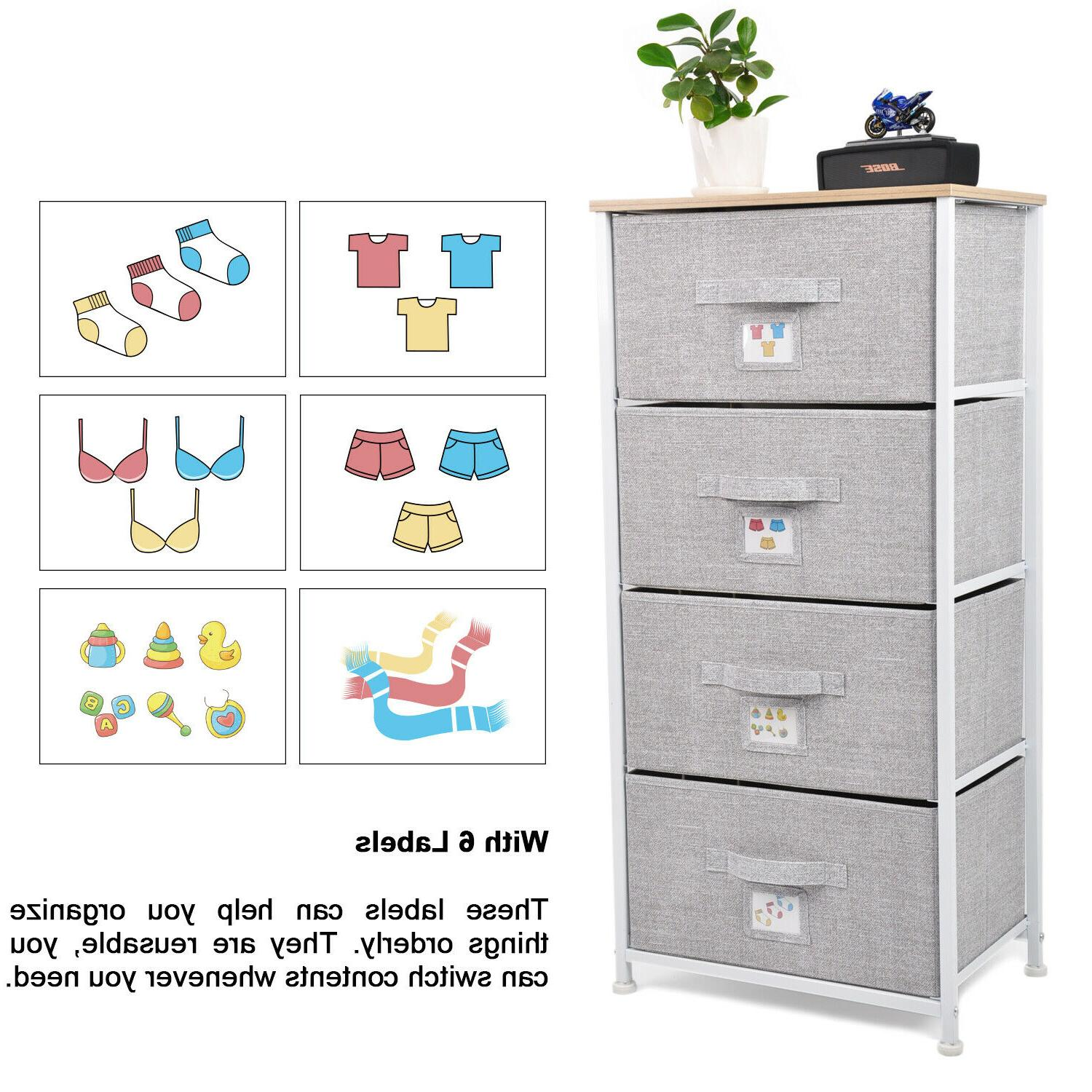 Chest Storage 4 Drawers Bedroom Cabinet Furniture Toys