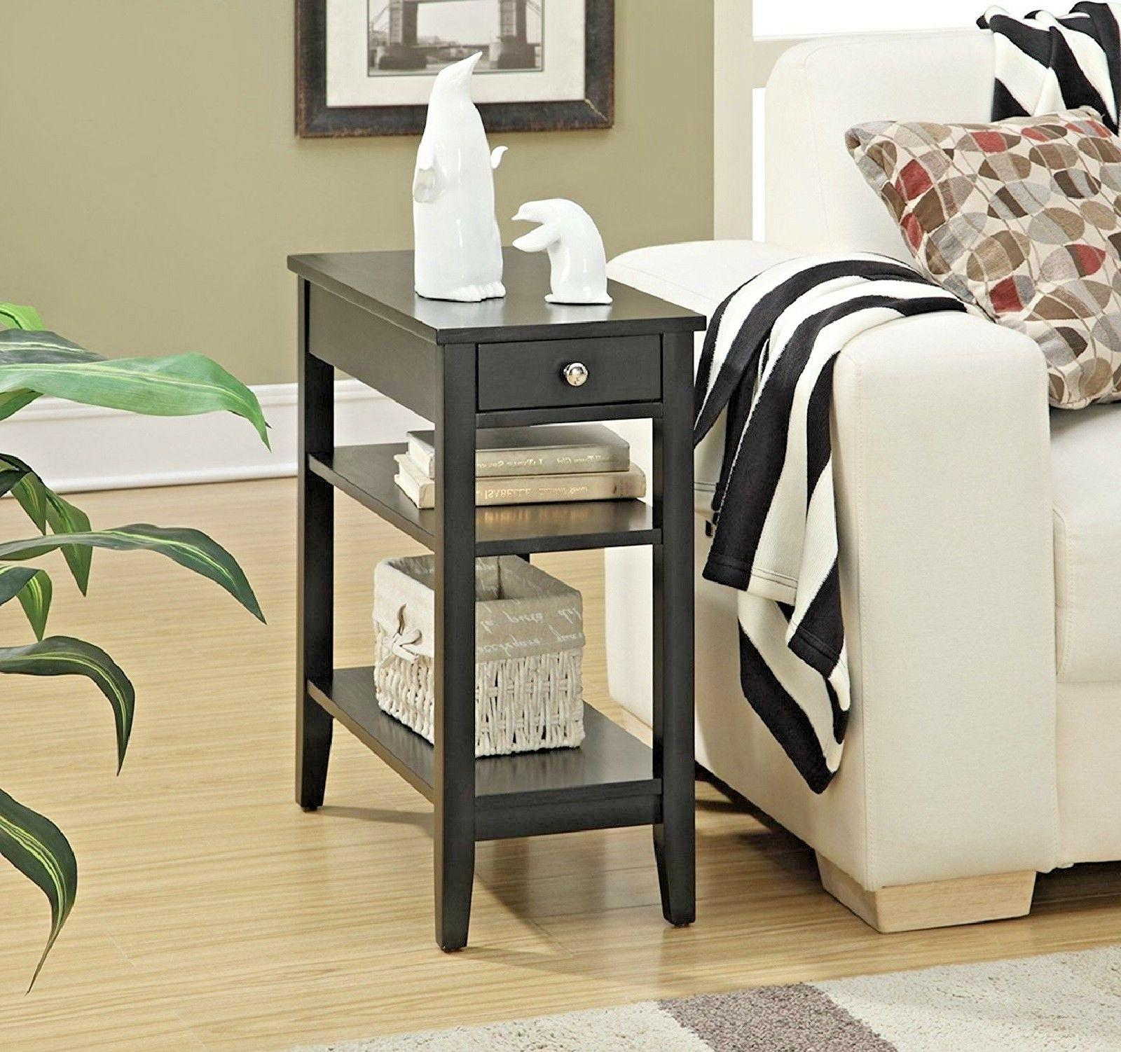 End Black Finish Storage Drawer Sofa Chair Accent Furniture